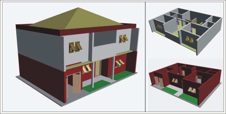 Tata letak rumah berlantai 2 itu di desain simetris supaya lebih